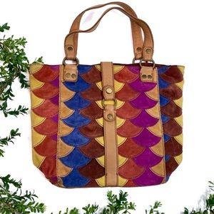 Lucky Multicolored Suede Shoulder Bag